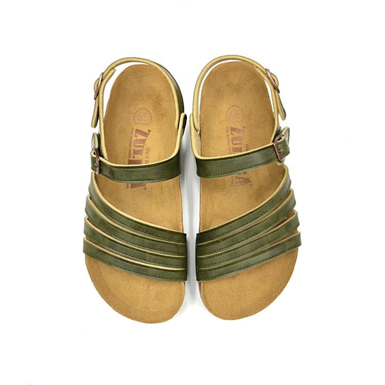 【ZULIBA舒適百搭】女足跡前細帶涼鞋~沙綠