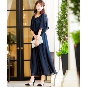 Fashion Letter ファッションレター スリット入レーススリーブ ロングワンピース