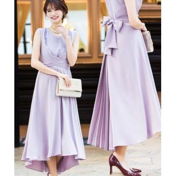 ファッションレター クロスベルト バックプリーツ ドレス レディース ライトラベンダー 38(M) 【Fashion Letter】