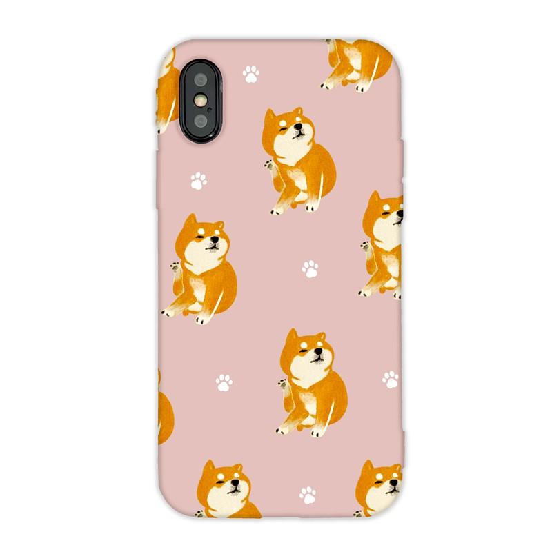 【TOYSELECT】萌寵碎花設計iPhone手機殼:抓養柴犬 (粉色)
