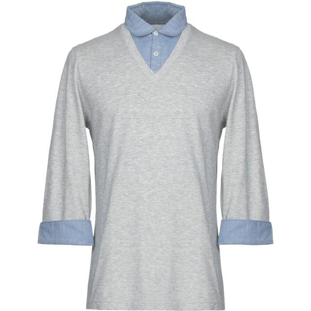 《期間限定セール開催中!》ELEVENTY メンズ ポロシャツ ライトグレー M コットン 100%