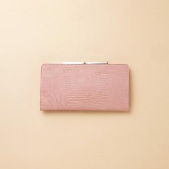 トプカピ TOPKAPI イタリアンレザー・リザード型押し・がま口長財布 LUCIA ルチア (ピンクグレー)