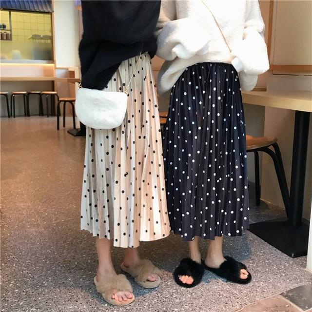 2019春夏 送料無料 レディース韓国ファッション★リング・プリーツスカート女性用ハイウエスト・スカートAラインスカートAラインスカート