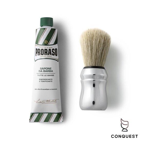 【 CONQUEST 】Proraso 義大利 刮鬍膏+鬍刷組 各種鬍鬚毛質皆適用 刮鬍皂 刮鬍泡 紳士風格 入門刮鬍膏