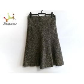 カルバンクライン スカート サイズ6 M レディース 美品 アイボリー×黒×ダークブラウン 新着 20190710