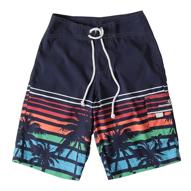【Snapper Rock】超輕量快乾兒童海灘褲 - 日落棕櫚樹
