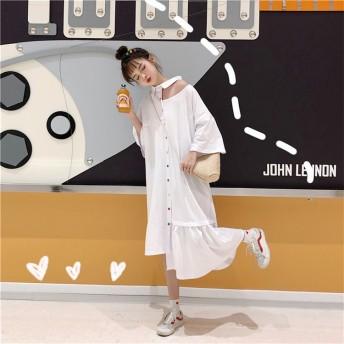 『送料無料』Newタイプついに入荷!韓国ファッション 個性的なデザイン 中・長セクション カラーボタン ワンピース