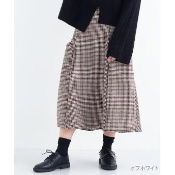 メルロー ガンクラブチェック柄ギャザーポケットロングスカート レディース オフホワイト FREE 【merlot】