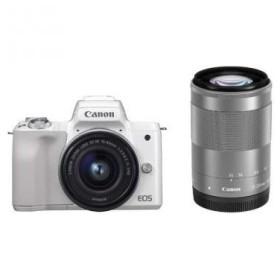 CANON EOS Kiss M ダブルズームキット ホワイト [ミラーレス一眼カメラ(2410万画素)] デジタル一眼カメラ