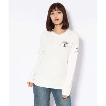 AVIREX Belle ハニカムワッフルプリント クルーネックTシャツ