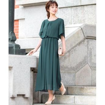 ファッションレター スリット入レーススリーブ ロングワンピース レディース グリーン LL 【Fashion Letter】