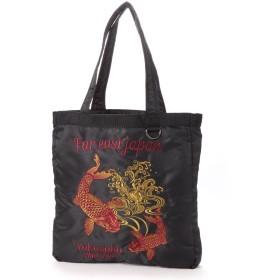 スタイルブロック STYLEBLOCK ポリツイルスカジャン風刺繍入りトートバッグ(鯉) (ブラック)