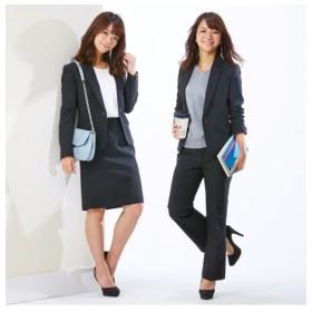 小さいサイズ 3点セットスーツ(ジャケット+スカート+パンツ) 【小さいサイズ・小柄・プチ】事務服・ベストスーツ