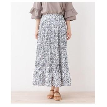 3can4on(Ladies)(サンカンシオン(レディース))【洗える】プリーツフラワーロングスカート