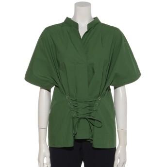 75%OFF Bou Jeloud (ブージュルード) レースアップシャツ グリーン