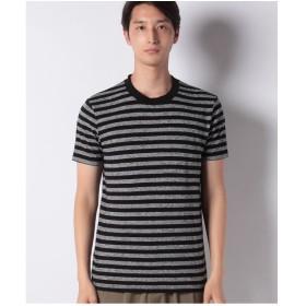 SISLEY ボーダーラウンドネック半袖Tシャツ・カットソー(ネイビー)