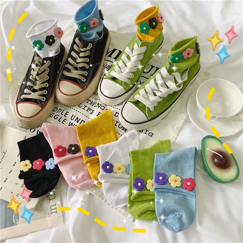 襪子 女襪 短襪 船型襪 堆堆襪 運動襪 現貨 學生襪 糖果襪 泫雅花朵襪小花襪ins潮學生卡通糖果色卷邊松口短襪
