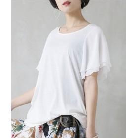 (osharewalker/オシャレウォーカー)フレアスリーブデザインTシャツ/レディース ホワイト