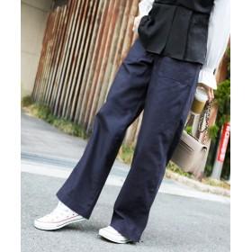 ファッションレター ベイカーワイドパンツ レディース ネイビー L 【Fashion Letter】