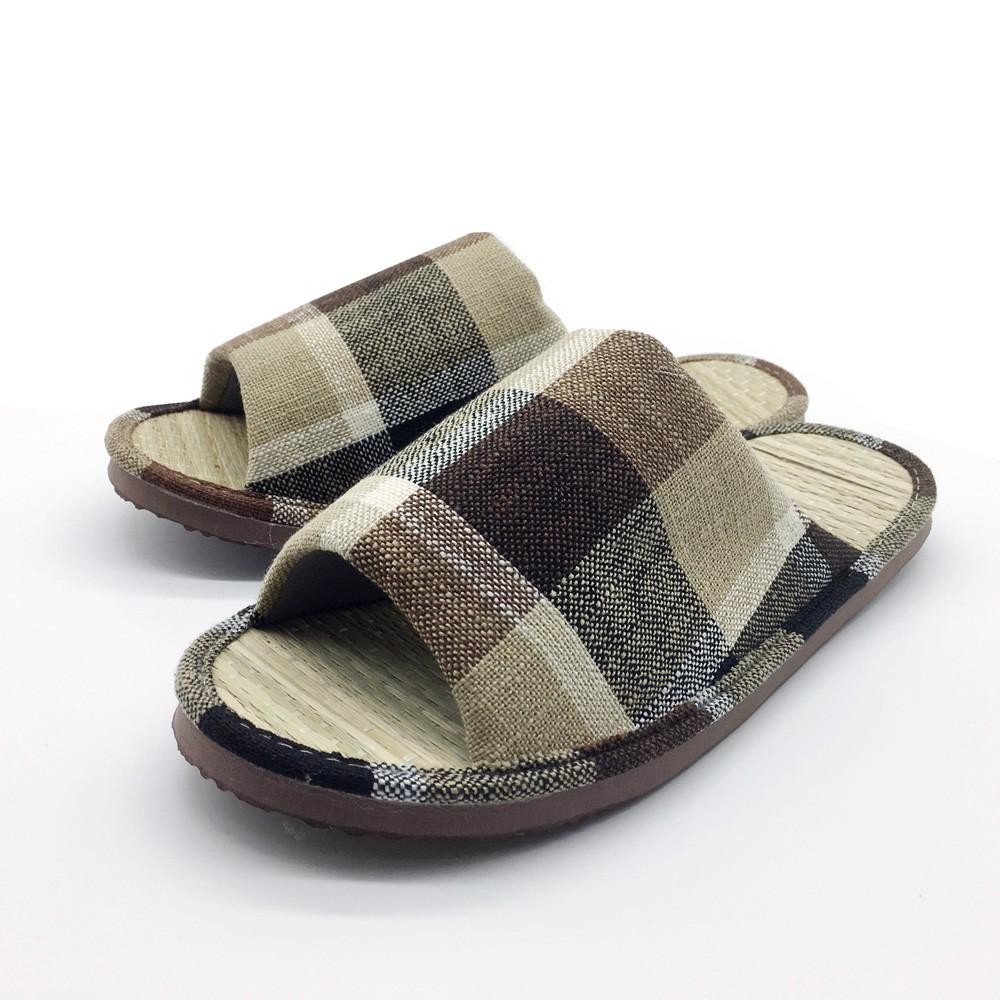 【iSlippers】小日常-真草蓆室內拖鞋-英倫格紋/咖 [台灣犀利趴]