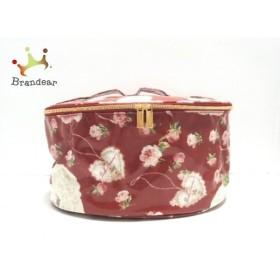 ピンクハウス バニティバッグ 美品 レッド×白×グリーン 雑誌付録/花柄 コーティングキャンバス 新着 20190710