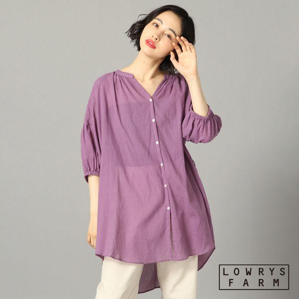 LOWRYS FARM素色V領腰部綁帶細褶長版七分襯衫上衣-三色