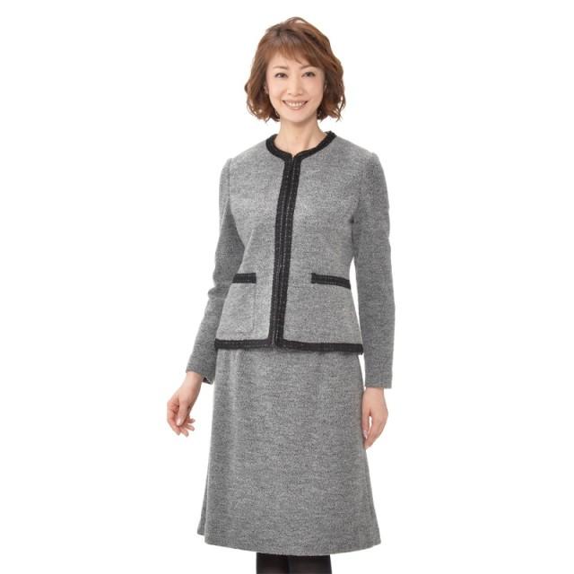 東京ソワール ウール混ブークレニットスーツ
