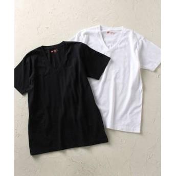 HANES 「Japan Fit」 VネックTシャツ白2枚組 メンズ ホワイト*ブラック