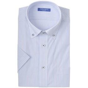 メンズ 【在庫限り】パーソンズプレップ 半袖 形態安定 白色柄 ボタンダウンシャツ(ゆったりシルエット)