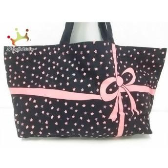 ツモリチサト TSUMORI CHISATO トートバッグ 黒×ピンク リボン/スター キャンバス 新着 20190710