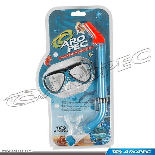 【【蘋果戶外】】AROPEC 百分百台灣製 兒童用矽膠面鏡+呼吸管組合 CO-YA262305C-S-BU TUSA IST 可考慮