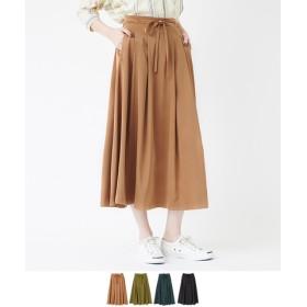 フロントリボンタックフレアスカート