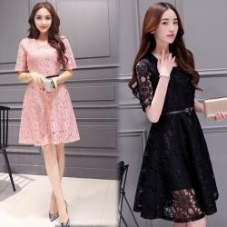 韓國K.W. (預購) 精選清新綁帶素面蕾絲洋裝