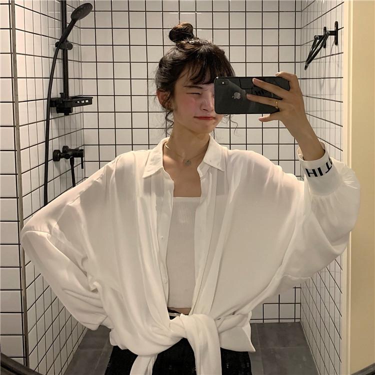 2019韓版學院風休閑純色翻領單排扣袖口拼接襯衫寬松防曬衫女生百搭上衣