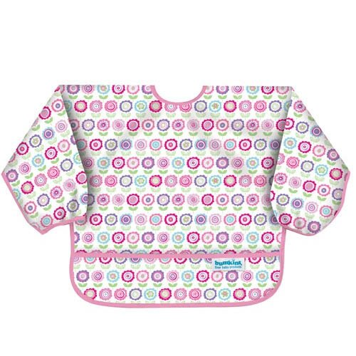 【美國Bumkins】小童(6-24月)長袖防水圍兜-可愛花朵 BKSU-750【紫貝殼】