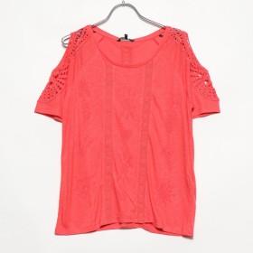 デシグアル Desigual クロシェレース付き半袖Tシャツ (Pink/Red)