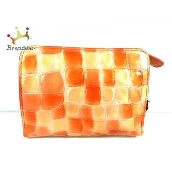 コッコフィオーレ 2つ折り財布 美品 オレンジ×ピンク 型押し加工 エナメル(レザー) 値下げ 20190904