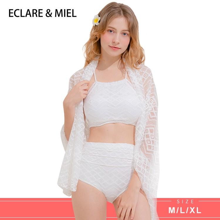 (現貨)ECLARE & MIEL - 馬爾地夫系列削肩蕾絲設計露背綁帶披肩彈性三件式泳裝(白色)【CSW0071-1】