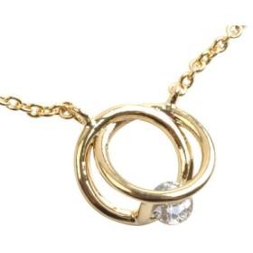 (cream dot/クリームドット)交わるリングにビジューを挟み込んだショートネックレス/レディース ゴールド
