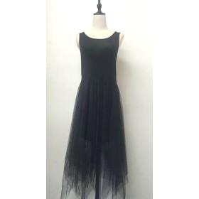 キャミワンピース - shoppinggo Tシャツワンピース チュールスカート 大きいサイズ 切り替え 不規則 夏キャミワンピ
