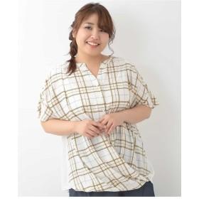 eur3 【大きいサイズ】チェック柄フロントタックカットソー Tシャツ・カットソー,ホワイト