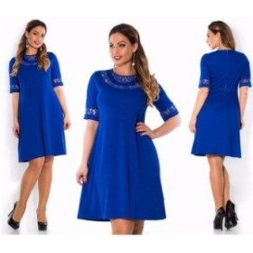 【 2XL - 6XL 】 大きいサイズ ラウンドネック セクシー ドレス 半袖 5l 4l 3l 70552