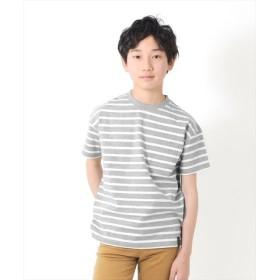 (GLAZOS/グラソス)ドロップショルダーボーダー半袖Tシャツ/レディース グレー