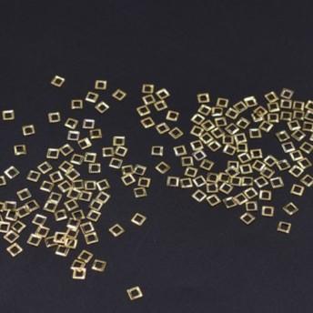 M3053 500個 ネイルパーツ メタルパーツ 四角フレーム 3.1×3.1mm ゴールド【約500ヶ】