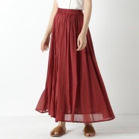 スカート レディース ロング 秋カラー◎インド綿ボイル素材のカラースカート 「ボルドー」
