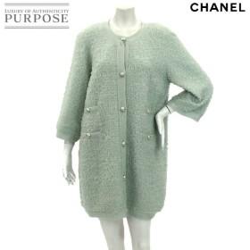シャネル CHANEL コート ノーカラー 七分袖 ココ CC ボタン グリーン サイズ 42 P43 ランダム レディース