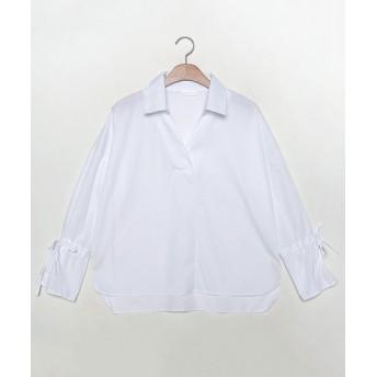 シャツ - NOWiSTYLE MERONGSHOP(メロンショップ)袖リボンシンプルシャツ 韓国 韓国ファッション トップス シャツ ブラウス リボン ストライプVネック 春 シンプル 袖コンシャス レディース ファッション