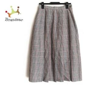 ダックス DAKS ロングスカート サイズ63-90 レディース 黒×白×レッド チェック柄/プリーツ 新着 20190711