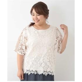 eur3 【大きいサイズ】フラワーデザイン総レースカットソー Tシャツ・カットソー,ホワイト