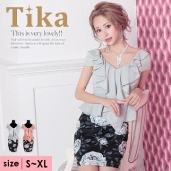 Tika ティカ フリル ペプラム フラワー タイト ミニドレス 2color S-XL